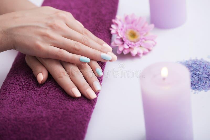 manicure Mooie goudsbloemen na kuuroordprocedures Goed-verzorgde spijkers en handen Het concept kuuroord en schoonheid royalty-vrije stock afbeelding
