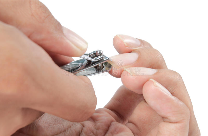 Manicure with nail clip royalty free stock images
