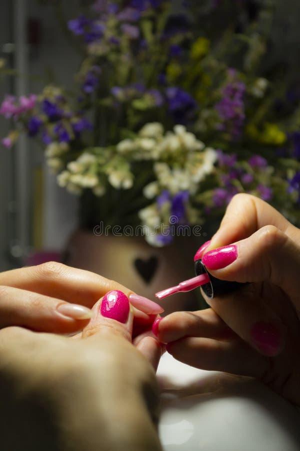 Manicure nail paint. Beautician applying nail polish to female n royalty free stock photos
