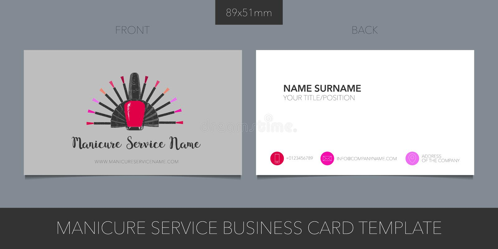 Manicure, nail service vector business card template with corporate logo, icon and contact details stock illustration
