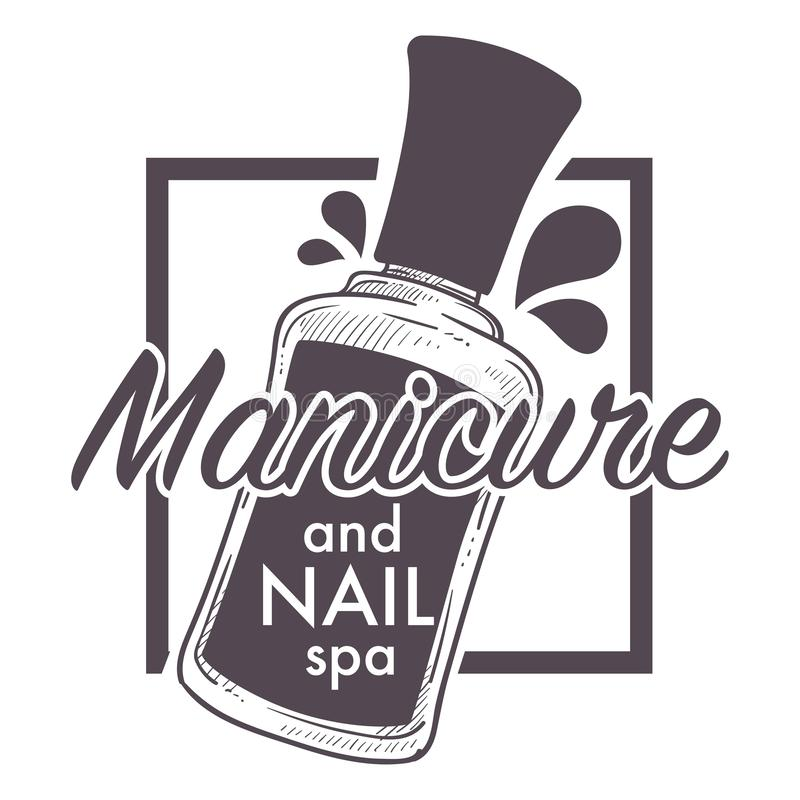 Manicure and nail spa, polish, lacquer sketch logo stock illustration