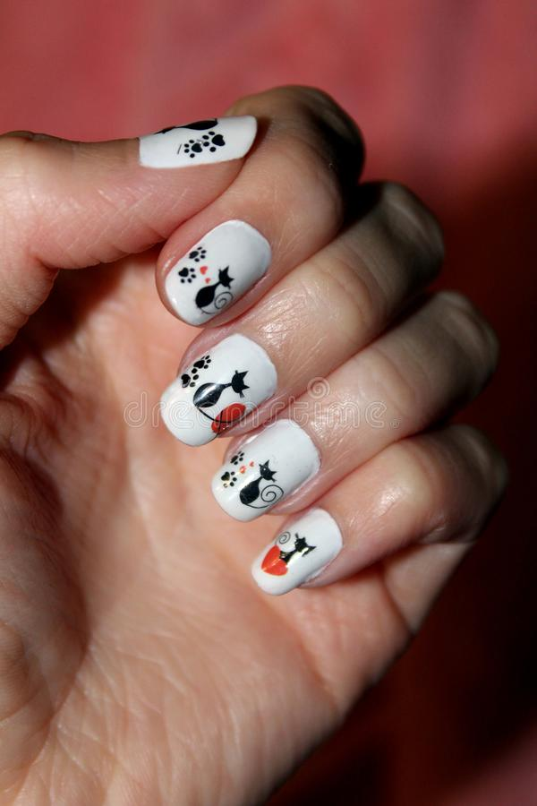 Manicure For Nails With Patterns Stock Image - Image of ...