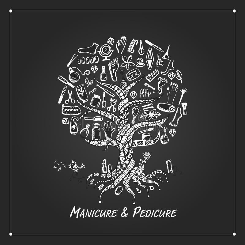 manicure pedicure Концепция дерева, эскиз для вашего дизайна иллюстрация вектора