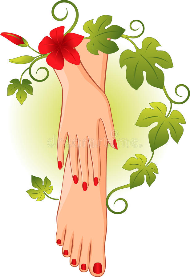 Manicure pedicure. Vector illustration depicting a manicure and pedicure in the frame of the wreath