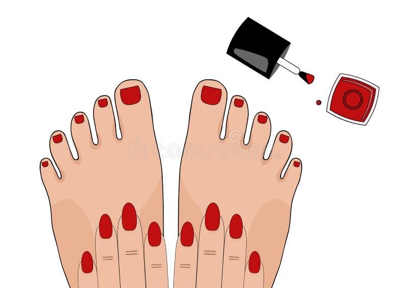 manicure pedicuren _ också vektor för coreldrawillustration stock illustrationer