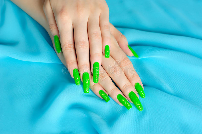 Download Manicure on real nails stock image. Image of actual, green - 13971171