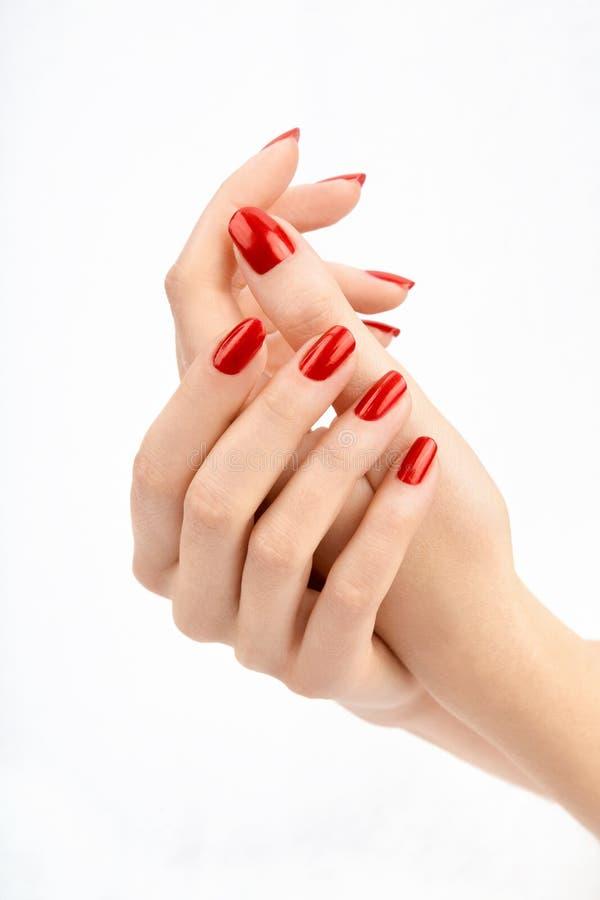 Manicure rosso immagine stock