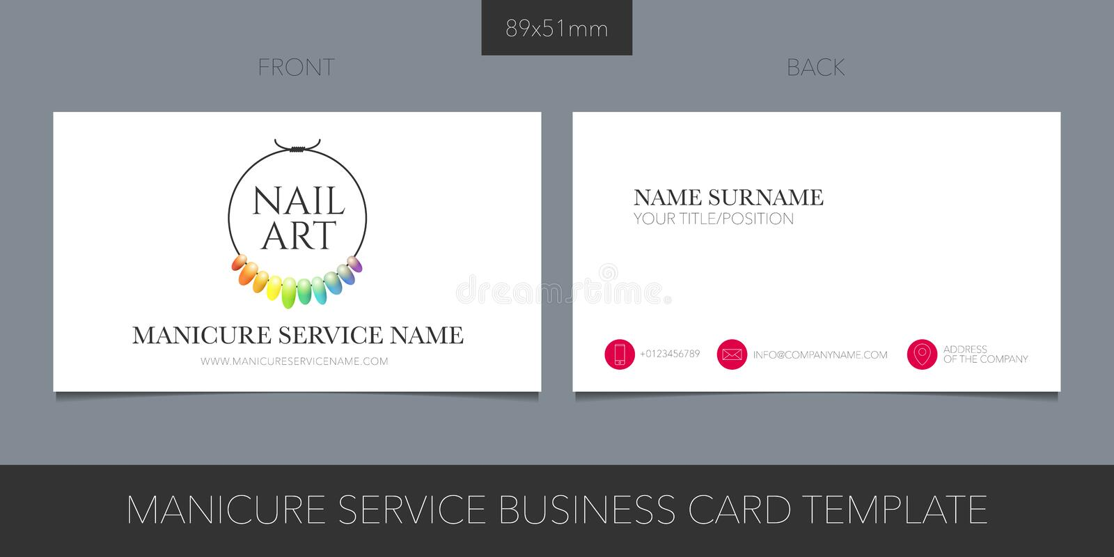Manicure salon, nail master vector business card with logo, icon and contact details royalty free illustration