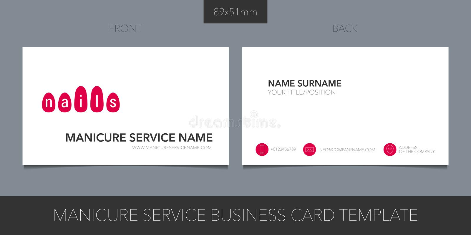 Manicure salon, nail service vector business card layout. royalty free illustration