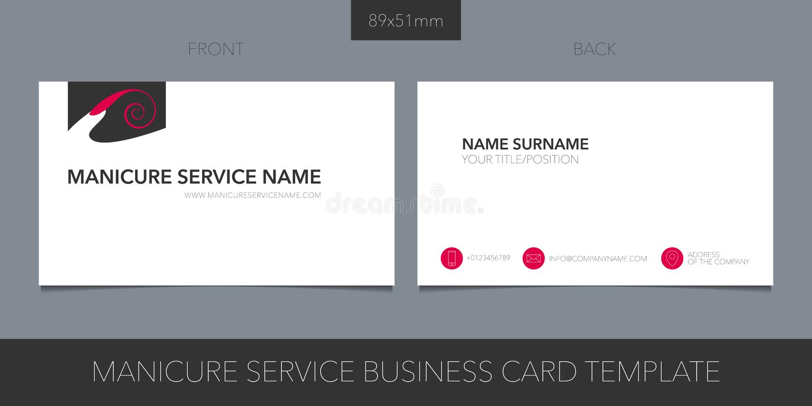 Manicure salon, nail service vector layout of business card with logo vector illustration
