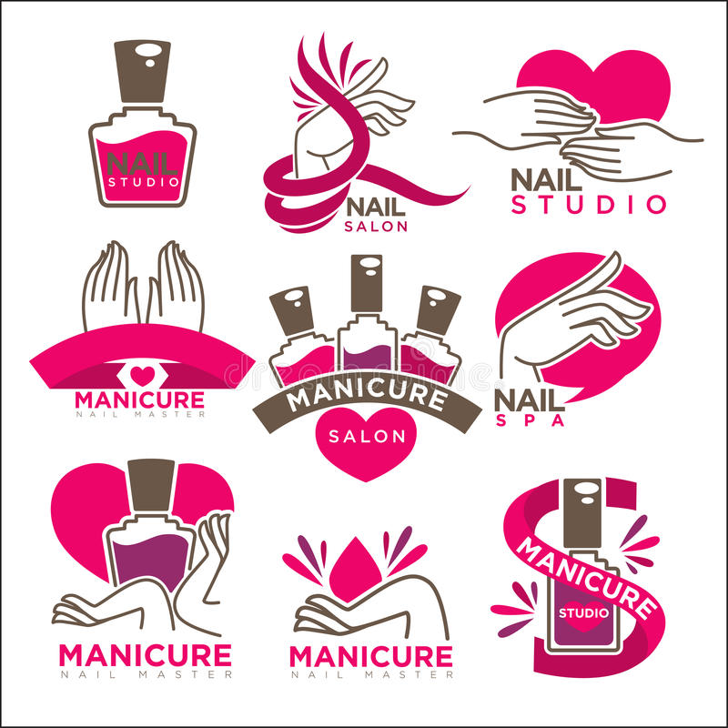 Manicure salon and nails studio vector flat icons templates vector illustration