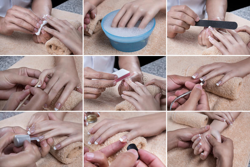 Manicure set. Set of nine photos, which show various stages of manicure royalty free stock photo