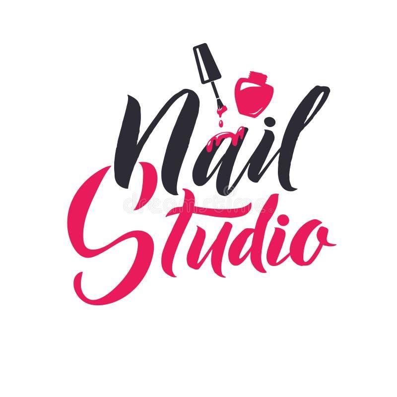 Manicure Studio. Nail Master Logo Beauty Vector Lettering. Custom Handmade Calligraphy. Vector Illustation royalty free illustration