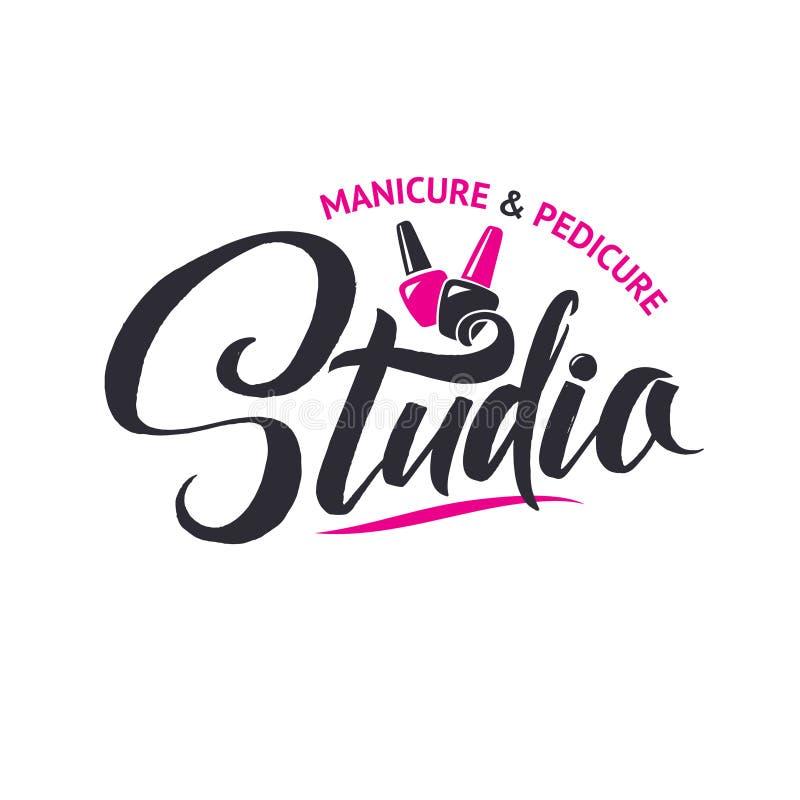 Manicure Studio. Nail Master Logo Beauty Vector Lettering. Custom Handmade Calligraphy. Vector Illustation stock illustration