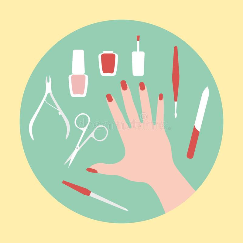 Manicure tools, hand, nail polish. Beauty salon. Vector illustration with hand, professional manicure tools, nail polish. Beauty salon. Manicure. Glamour fashion royalty free illustration