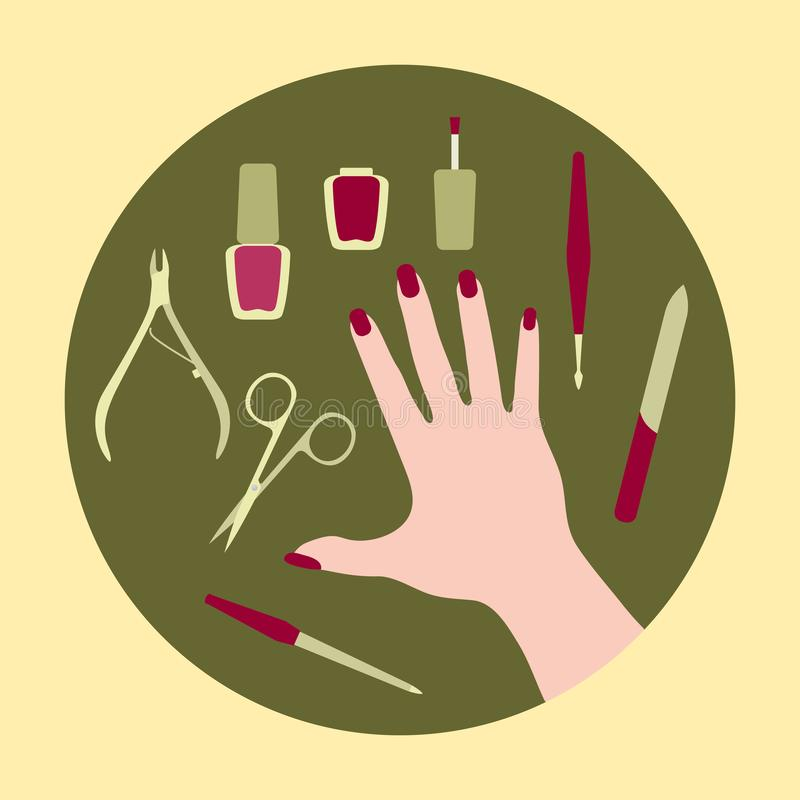 Manicure tools, hand, nail polish. Beauty salon. Vector illustration with hand, professional manicure tools, nail polish. Beauty salon. Manicure. Glamour fashion vector illustration