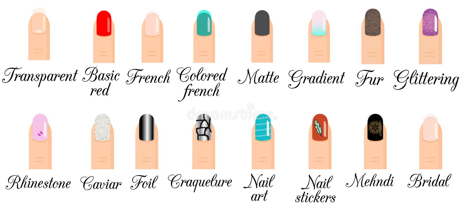Manicure types nail design nail art vector set trendy manicure download manicure types nail design nail art vector set trendy manicure styles and prinsesfo Gallery