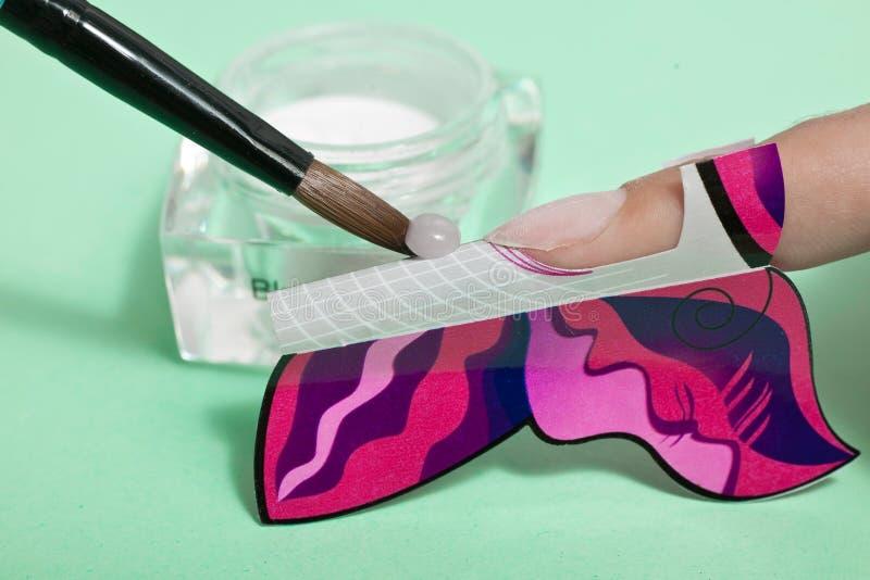 Manicure'u proces makro- zbliżenie fotografia royalty free