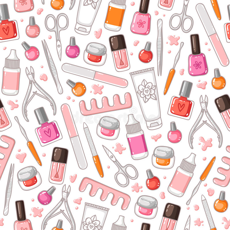 Manicure wytłacza wzory wektorowego bezszwowego wzór royalty ilustracja