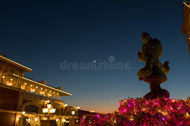 Disney sunset and moon stock photography