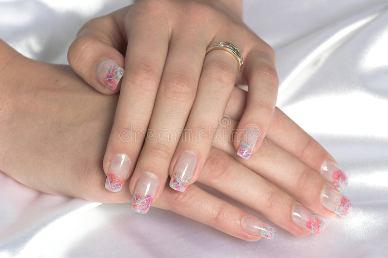 Manicured hands stock image