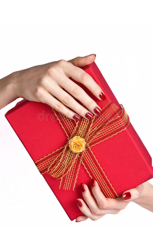 Download Manicured Hands Holding Present Box Stock Image - Image: 12725977