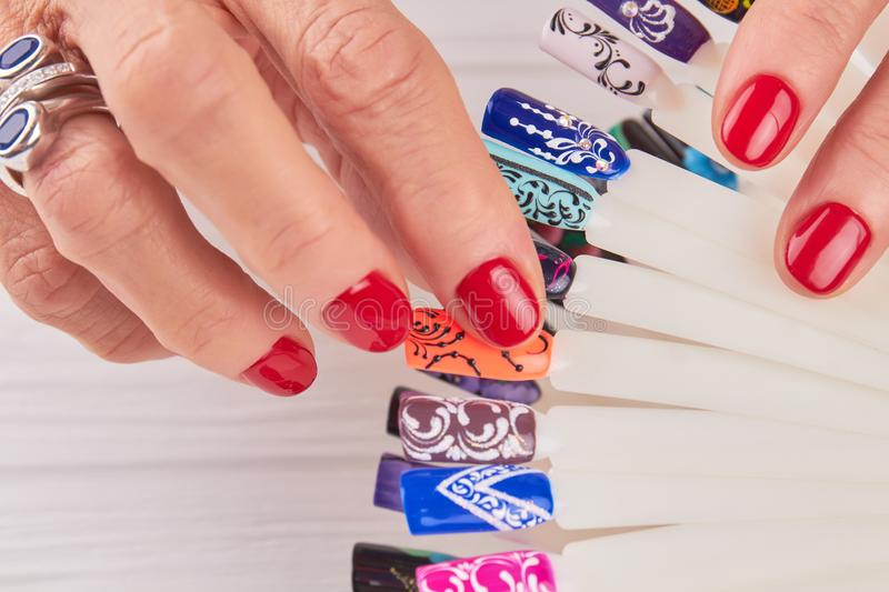 Manicured Hands, Nail Art Samples Close Up. Stock Photo - Image of ...