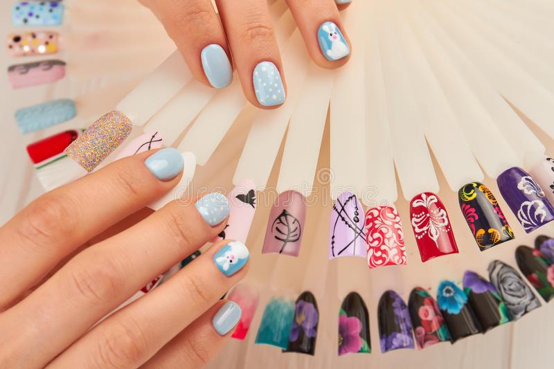 Manicured Hands And Nail Colors Samples. Stock Image - Image of nail ...