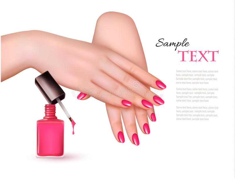 Manicured hands and a nail polish bottle. stock illustration