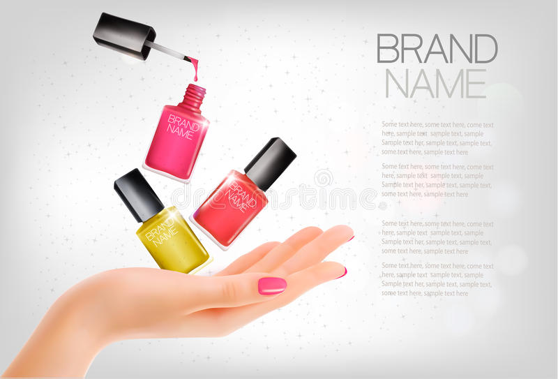 Manicured hands and several nail lacquer bottles. royalty free illustration