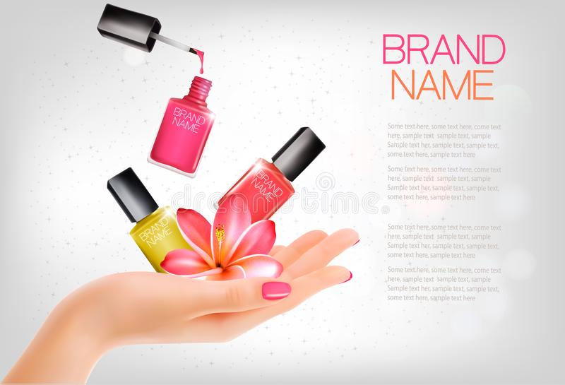 Manicured hands and several nail laquer bottles vector illustration
