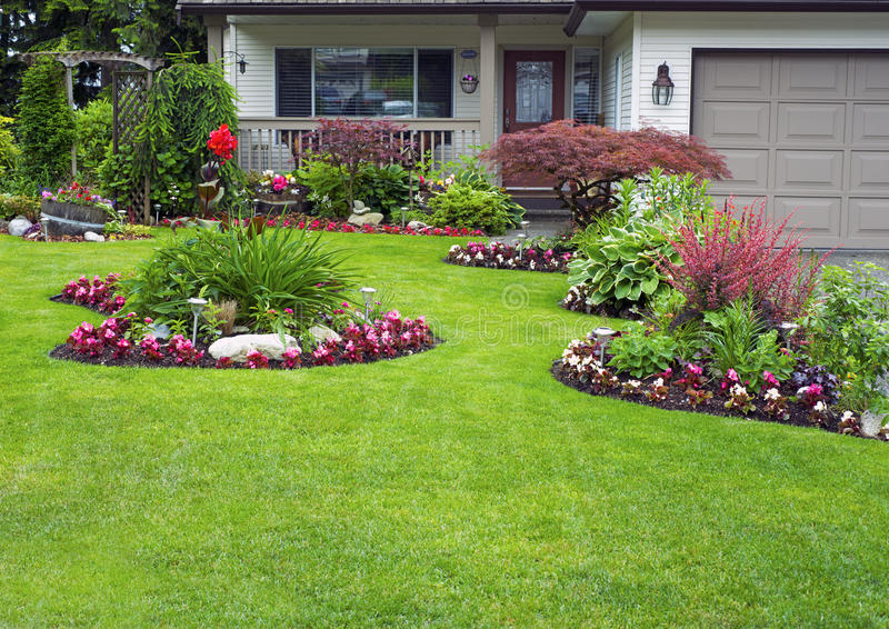 Manicured House and Garden stock images