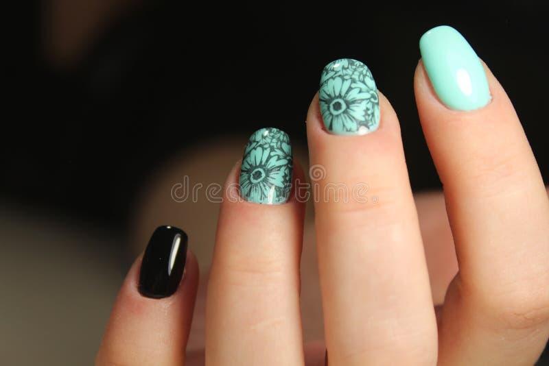 Manicured nails Nail Polish art design. Best stock photography