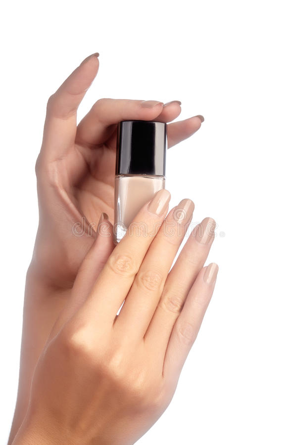 Manicured Nails With Natural Nail Polish. Manicure With Beige ...