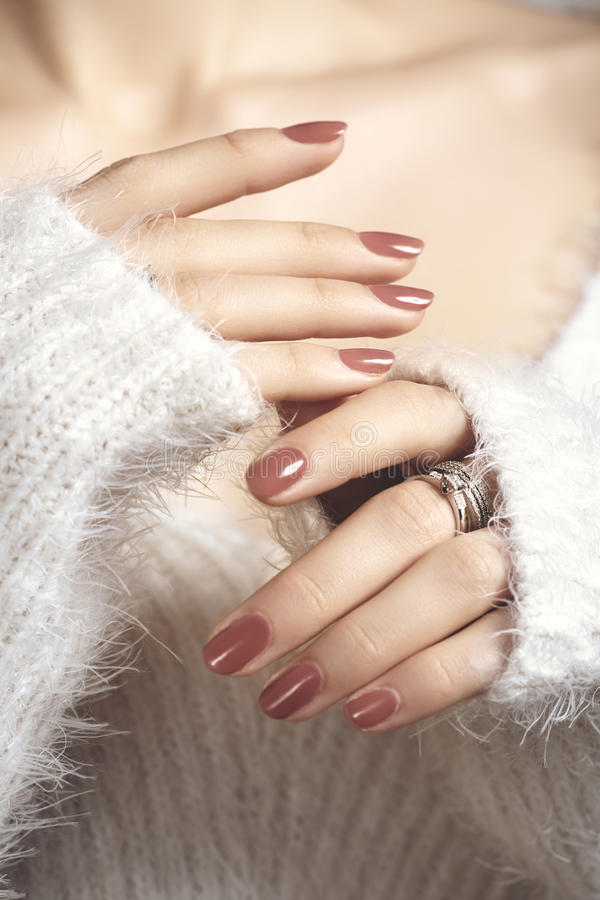 Manicured Woman Fingernails With Natural Color Nail Polish Stock ...
