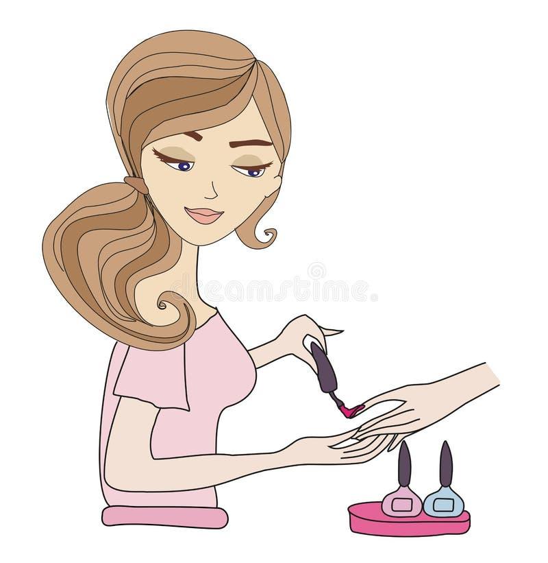 Manicurist applying nail polish. Vector Illustration stock illustration