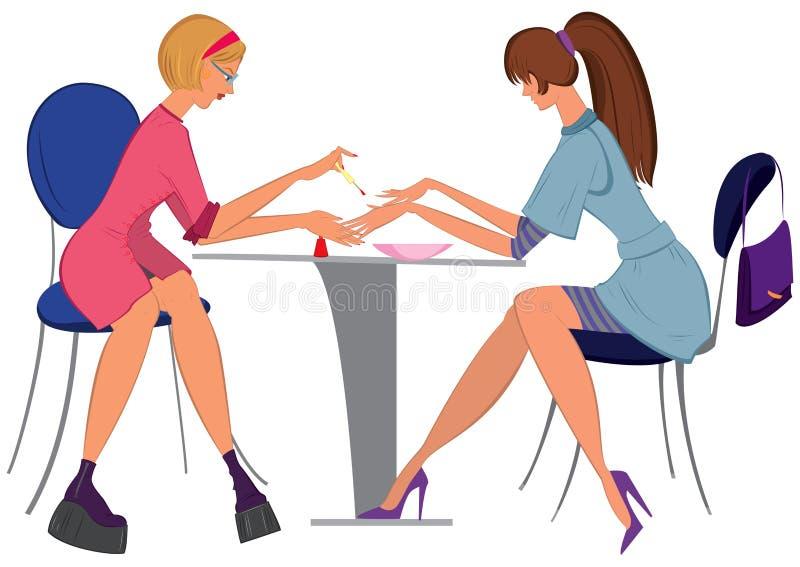 Manicuro da mulher dos desenhos animados que aplica o verniz para as unhas ao cliente ilustração do vetor