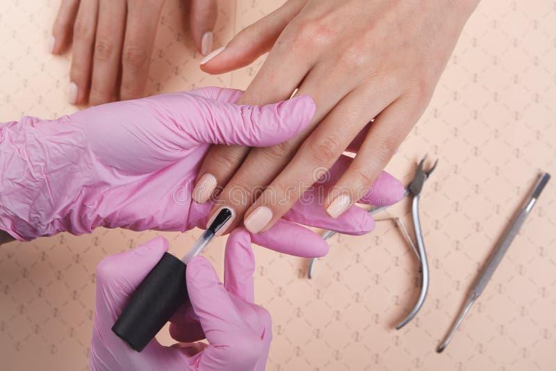 Manicuro profesional que muestra esmalte de uñas colorido para comprobar el resultado del final fotos de archivo libres de regalías