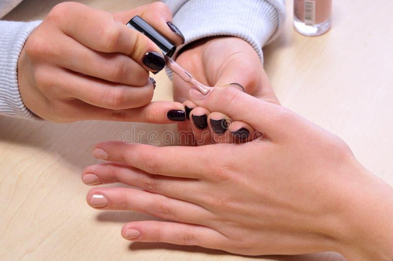 Manicuro que aplica o verniz para as unhas nos dedos das mulheres foto de stock royalty free