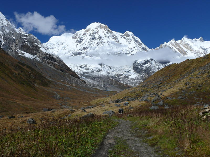 Manier aan Annapurna-Basiskamp royalty-vrije stock foto