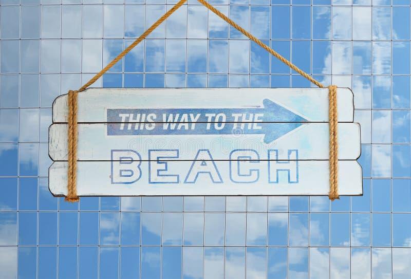 Manier aan strandteken over de bouw van het glasbureau stock illustratie