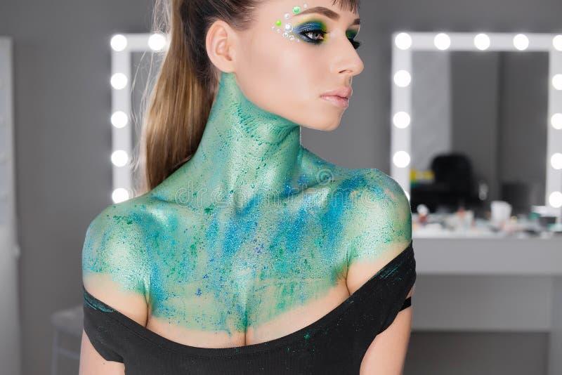 Manier Art Portrait makeup royalty-vrije stock foto