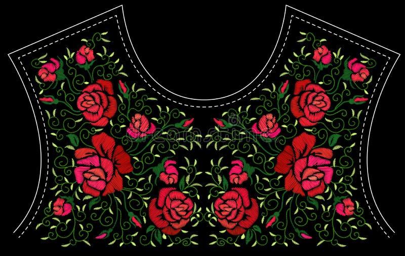 Manier bloemenborduurwerk vector illustratie