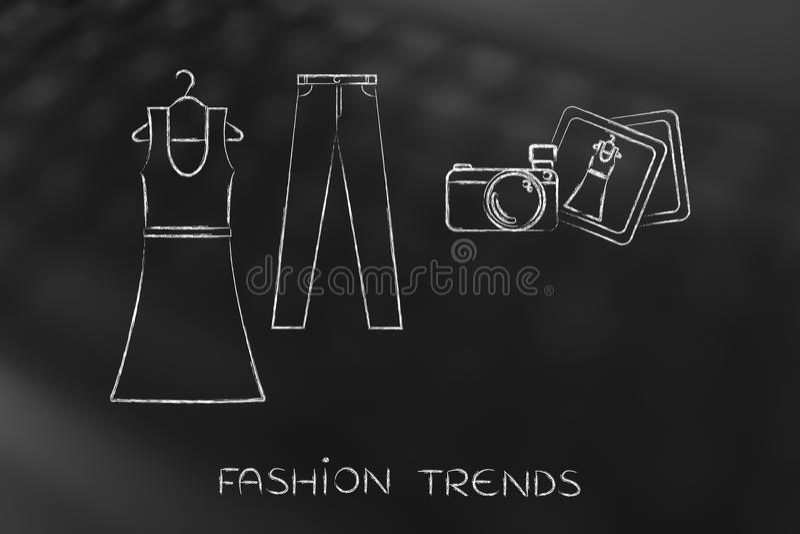 Manier die blogging: kleding en jeansillustratie met camera stock foto