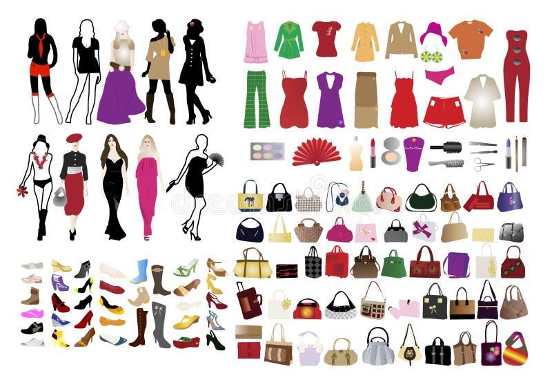 manier elementen voor vrouwen stock illustratie