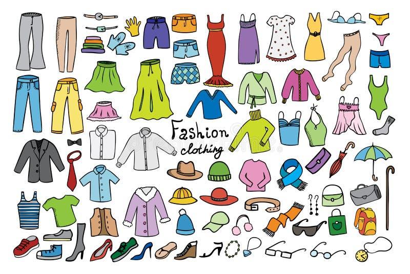Manier en kledings de inzameling van kleurenpictogrammen stock illustratie