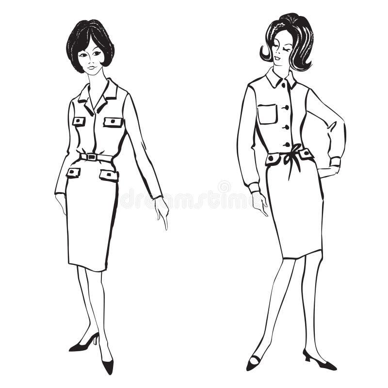 Download Manier Geklede Meisjes (de Stijl Van Jaren '50jaren '60) Vector Illustratie - Illustratie bestaande uit meisje, stof: 29503283