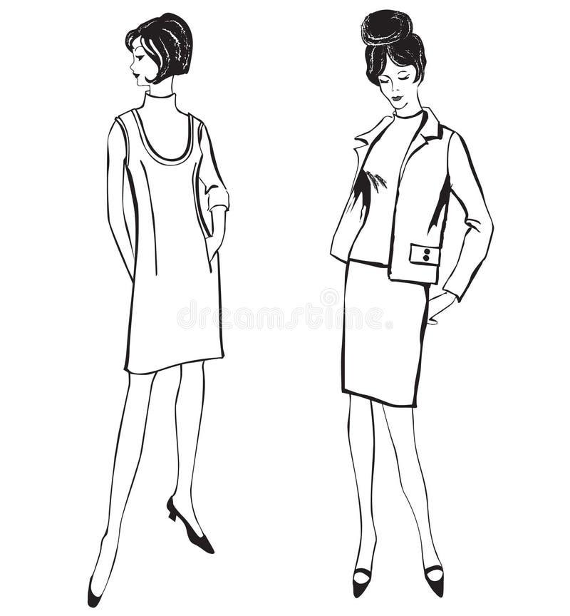 Download Manier Geklede Vrouwen (de Stijl Van Jaren '50jaren '60) Vector Illustratie - Illustratie bestaande uit schoonheid, kleren: 29503462