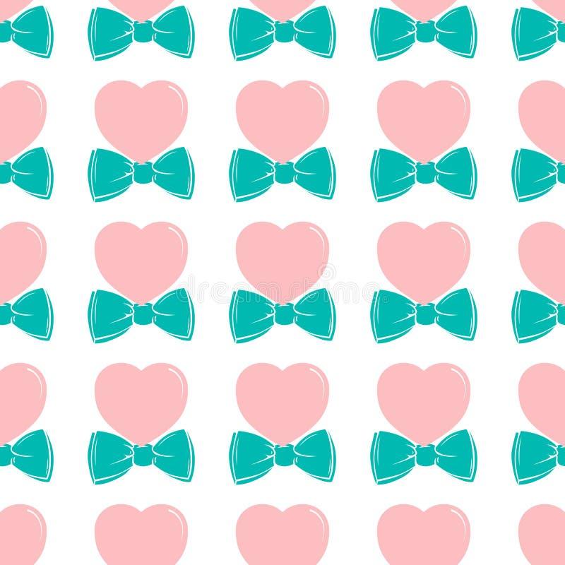 Manier hipster leuk naadloos patroon met roze hart met vlinderdas royalty-vrije illustratie