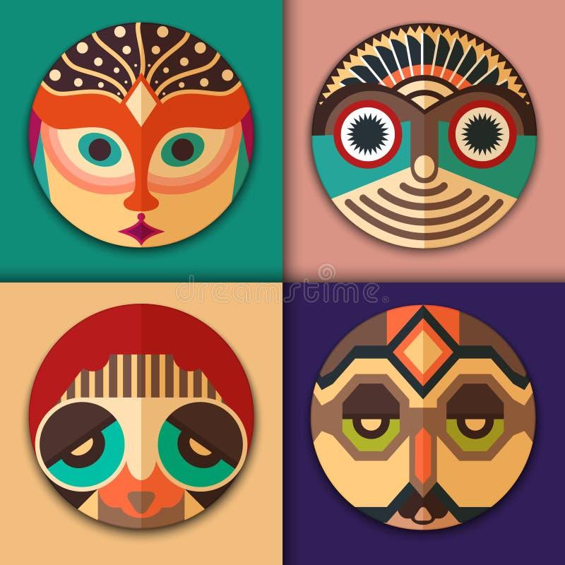 Manier hipster pictogrammen in het etnische maskerontwerp royalty-vrije illustratie